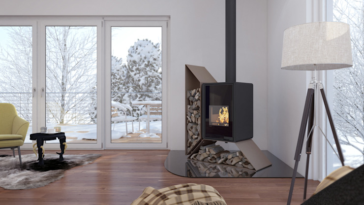 Salamandra a Lenha Biojaq Kampa Esq Salas de estar modernas por Biojaq - Comércio e Distribuição de Recuperadores de Calor Lda Moderno