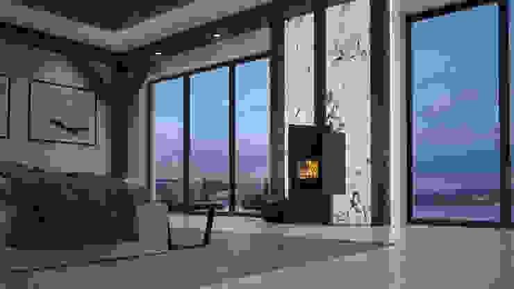 Salamandra a Lenha Biojaq PULAU Salas de estar modernas por Biojaq - Comércio e Distribuição de Recuperadores de Calor Lda Moderno