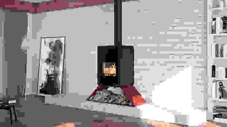 Salamandra a Lenha Biojaq Senai Salas de estar modernas por Biojaq - Comércio e Distribuição de Recuperadores de Calor Lda Moderno