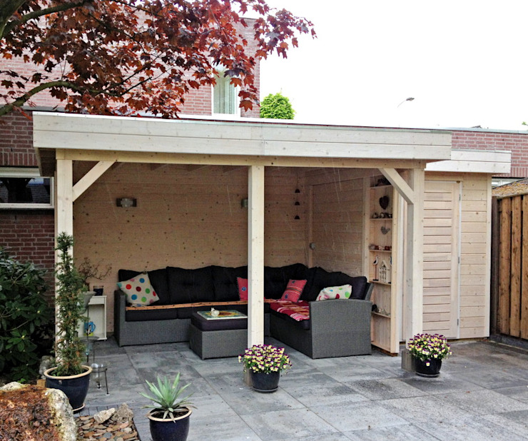 Gazebo with intergrated garden store Garden Affairs Ltd Classic style gardens Wood Wood effect