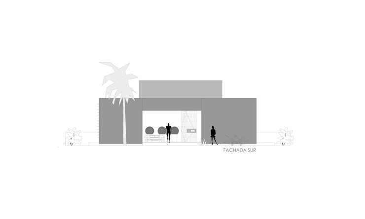 VISTA FRONTAL SUR Casas de estilo minimalista de VISMARACORSI ARQUITECTOS Minimalista