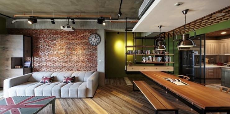 [HOME] Yu Chu Interior Design 인더스트리얼 거실 by KD Panels 인더스트리얼 우드 우드 그레인