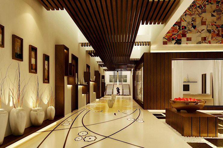 Mr. Ramesh Residence at Neyveli Modern corridor, hallway & stairs by Dwellion Modern