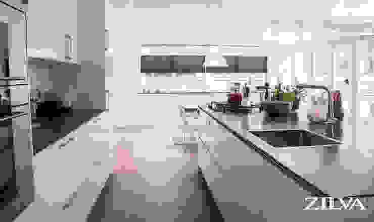 Keuken | betontegels en pvc visgraat vloer Zilva Vloeren Moderne keukens