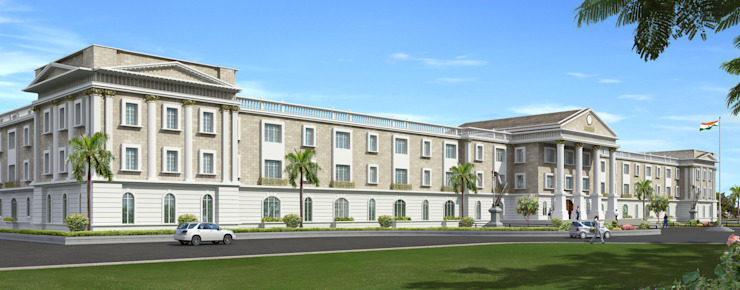Main building of M/s. KM Music Conservatory Modern conservatory by Dwellion Modern