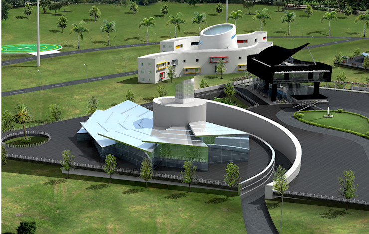 Amphi Theatres of M/s. KM Music Conservatory Modern conservatory by Dwellion Modern