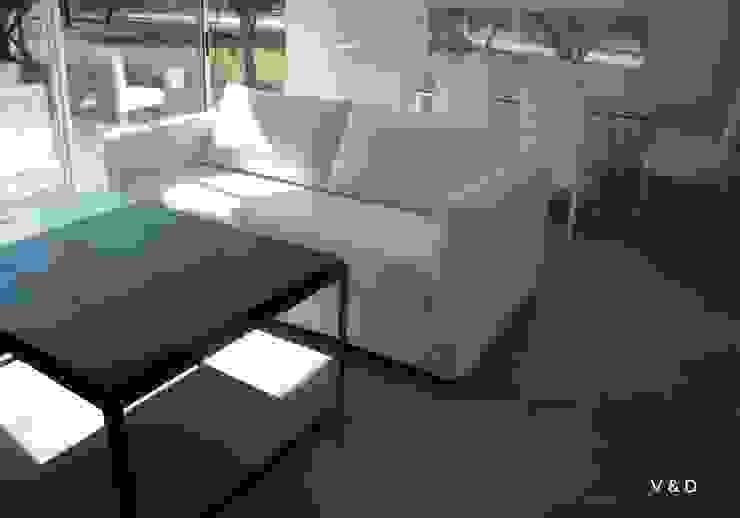 VETA & DISEÑO 现代客厅設計點子、靈感 & 圖片 木頭 White