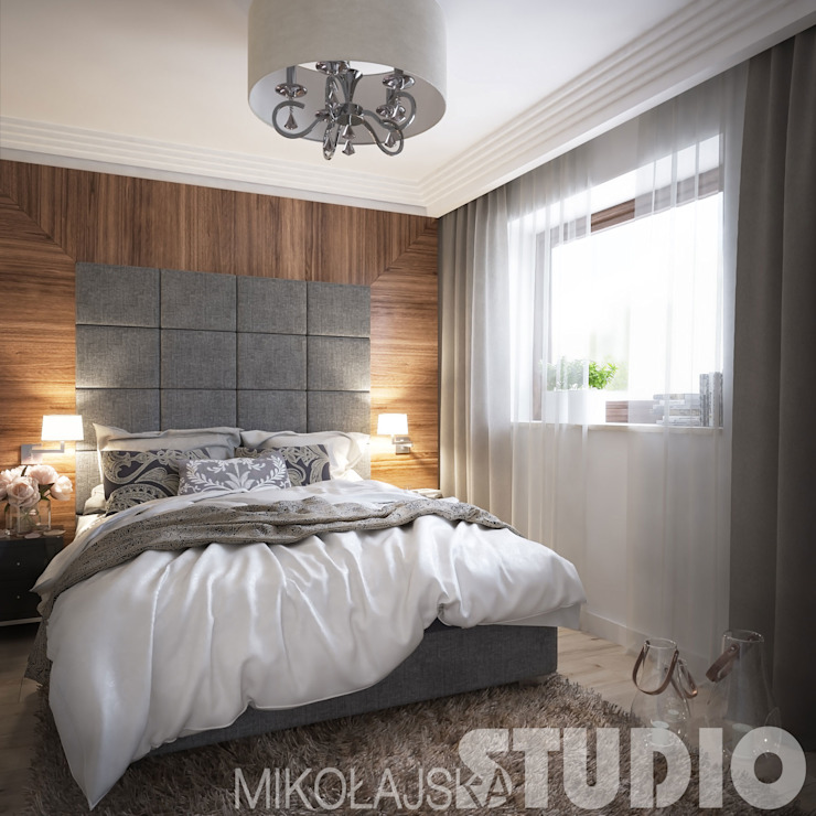elegancka sypialnia od MIKOŁAJSKAstudio