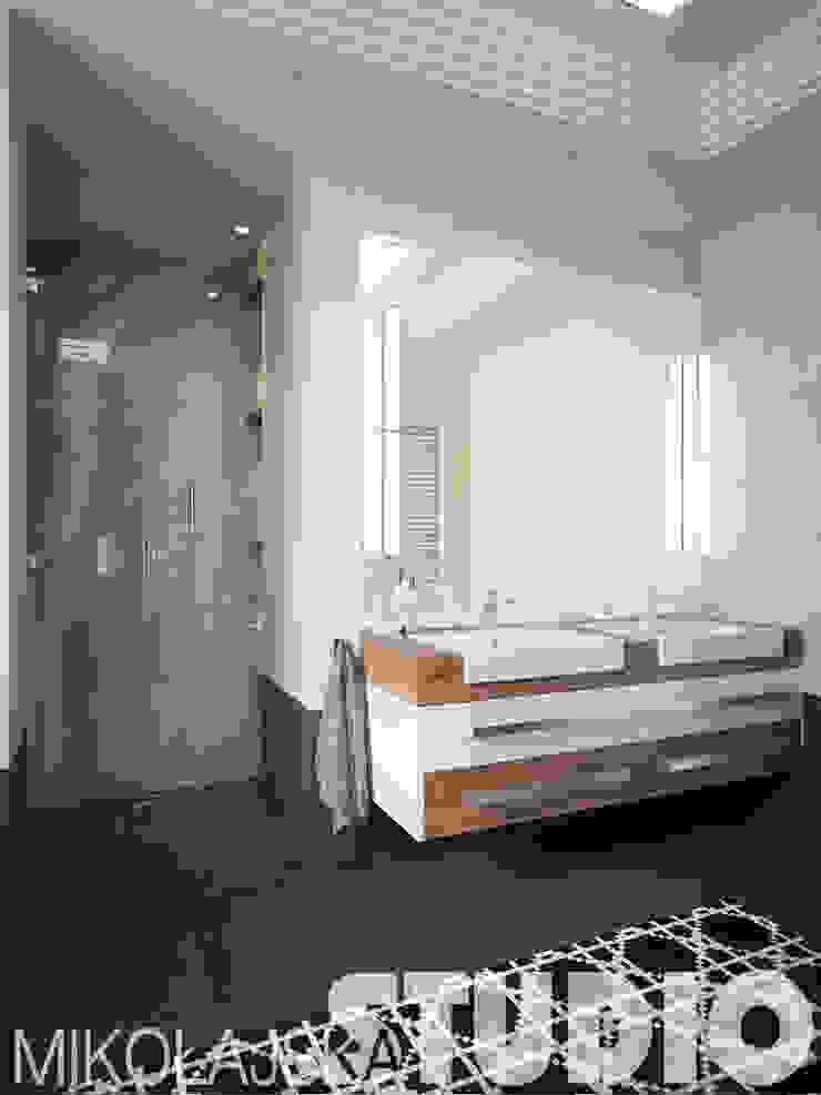 klasyczna łazienka-kremowy, czarny od MIKOŁAJSKAstudio