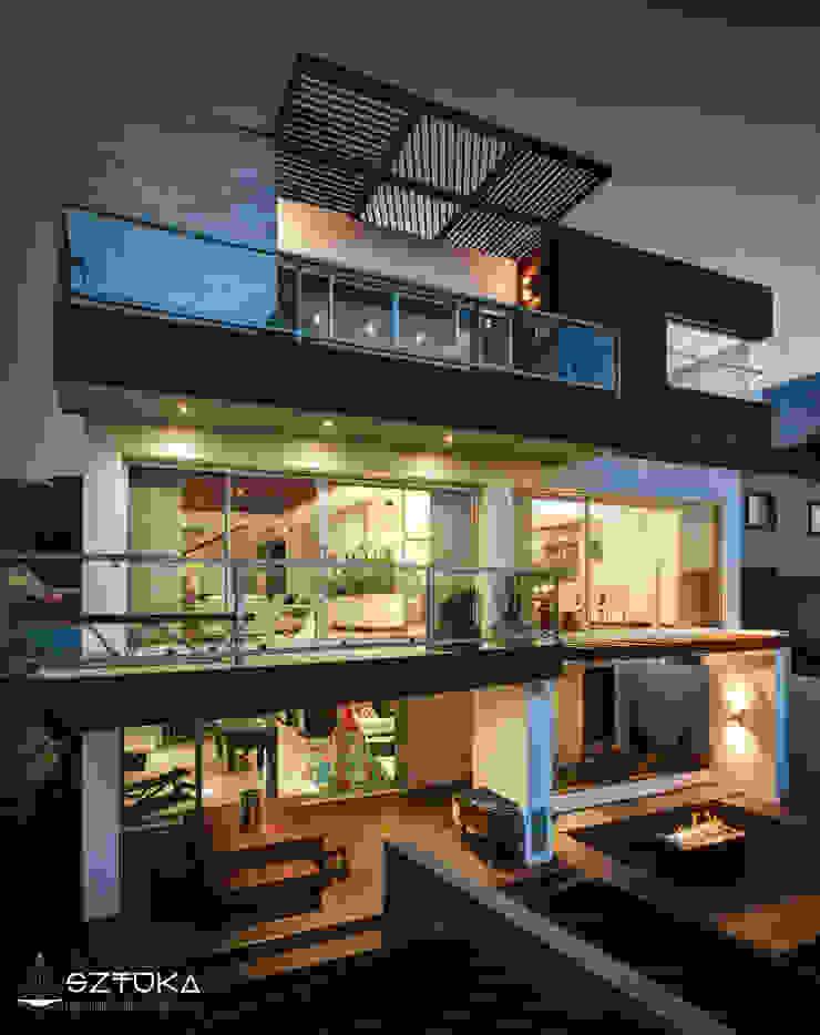 Fachada Posterior de Noche Balcones y terrazas modernos de SZTUKA Laboratorio Creativo de Arquitectura Moderno Madera Acabado en madera
