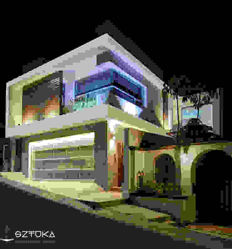 Fachada Principal de Noche Casas modernas de SZTUKA Laboratorio Creativo de Arquitectura Moderno Madera Acabado en madera