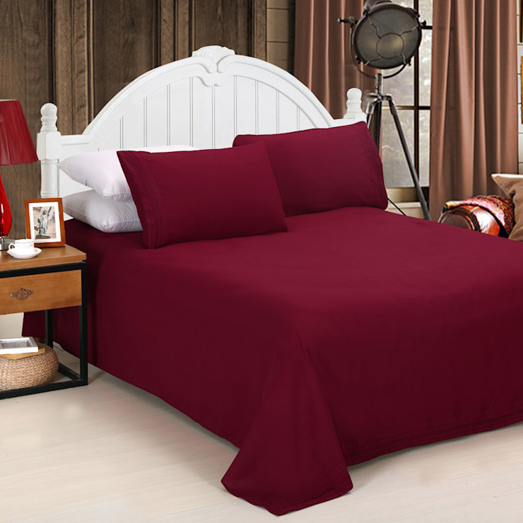 100% Cotton Sateen Red Double High thread count 600TC bed Sheet with 2 pillow covers: asian  by FurnishTurf,Asian Cotton Red