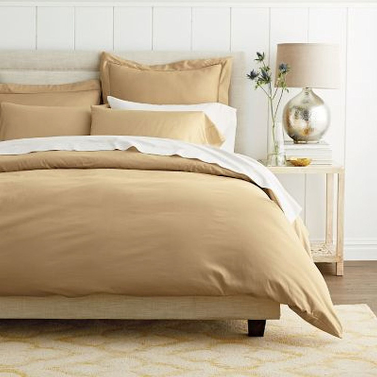 Cotton Rich Sateen Khaki Double High thread count 500TC bed Sheet with 2 pillow covers: asian  by FurnishTurf,Asian Textile Amber/Gold