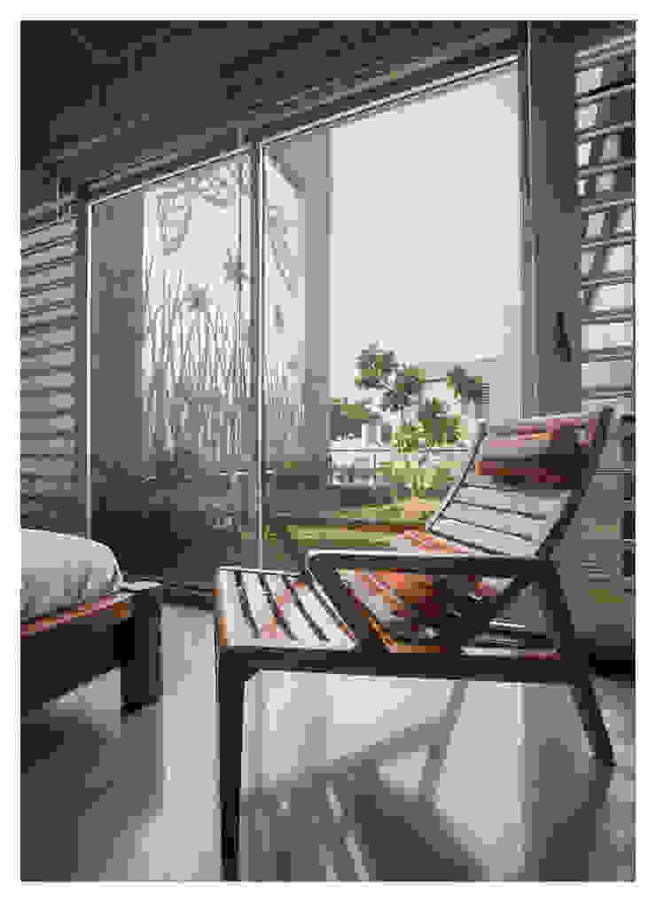 Material pallatte Modern balcony, veranda & terrace by ESSTEAM Modern Aluminium/Zinc