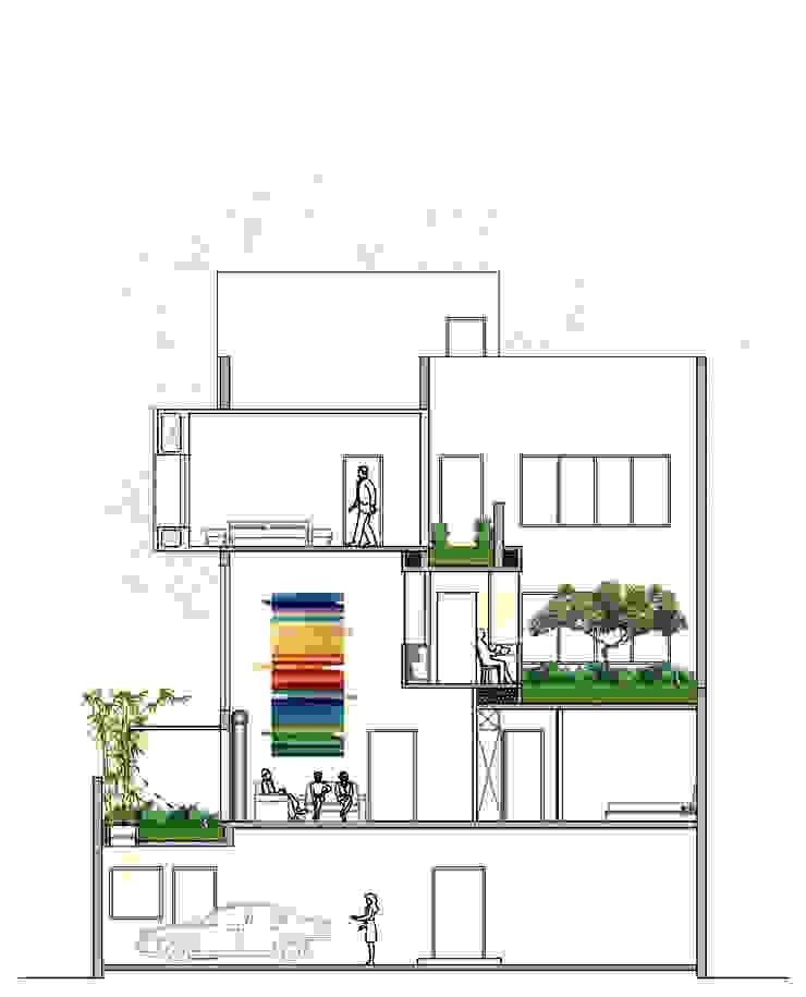 Section showing multiple level gardens.: modern  by ESSTEAM,Modern
