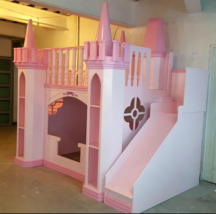 HERMOSO CASTILLO ROSA PARA PRINCESAS de camas y literas infantiles kids world Clásico Derivados de madera Transparente