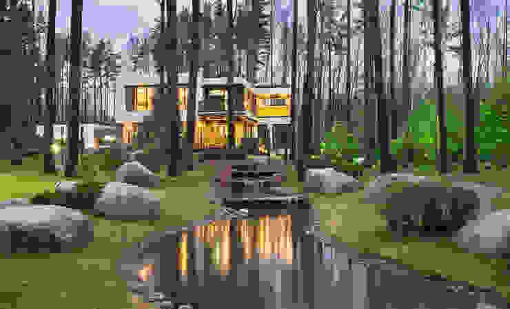 Современный дом у озера: Сады в . Автор – Дмитрий Кругляк