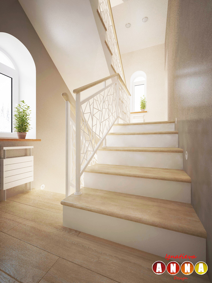 Scandinavian corridor, hallway & stairs by Дизайн-студия Анны Игнатьевой Scandinavian
