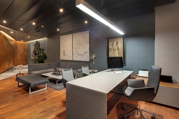 RIMA Arquitectura Modern Study Room and Home Office Wood