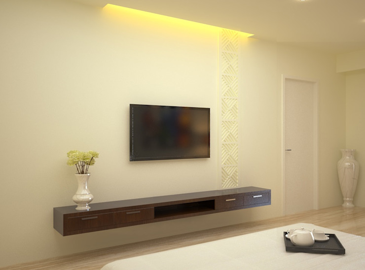 Tv Panel Asian style bedroom by Vaibhav Patel & Associates Asian Engineered Wood Transparent