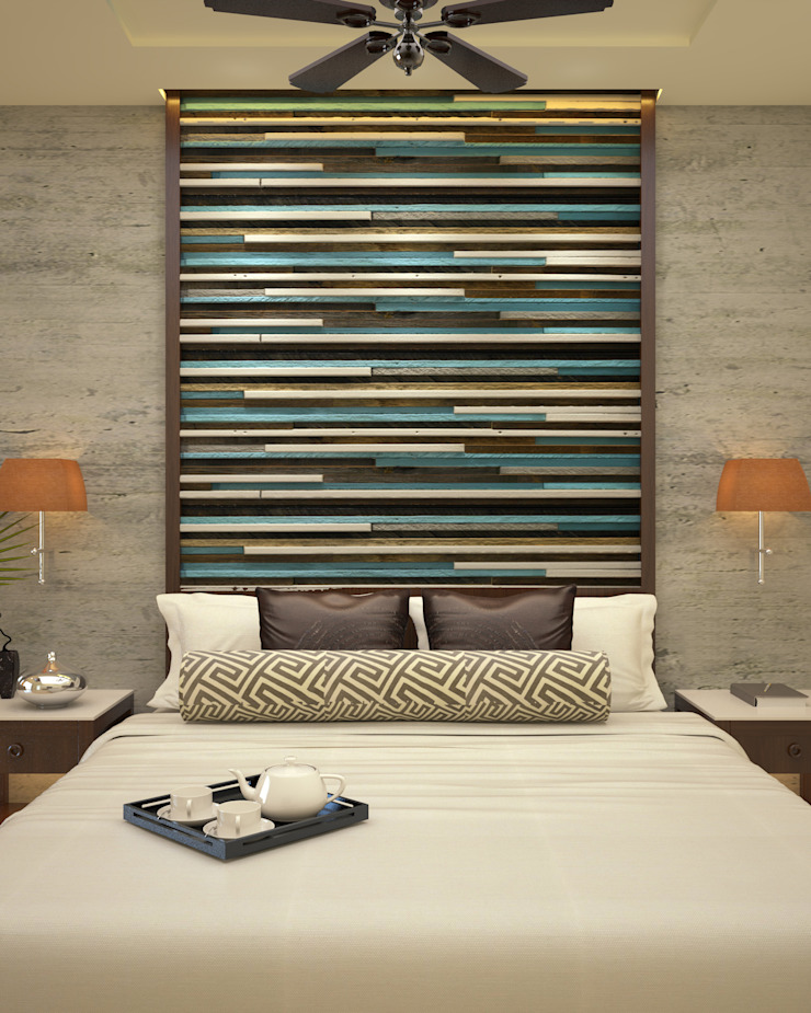 Headboard Asian style bedroom by Vaibhav Patel & Associates Asian Engineered Wood Transparent