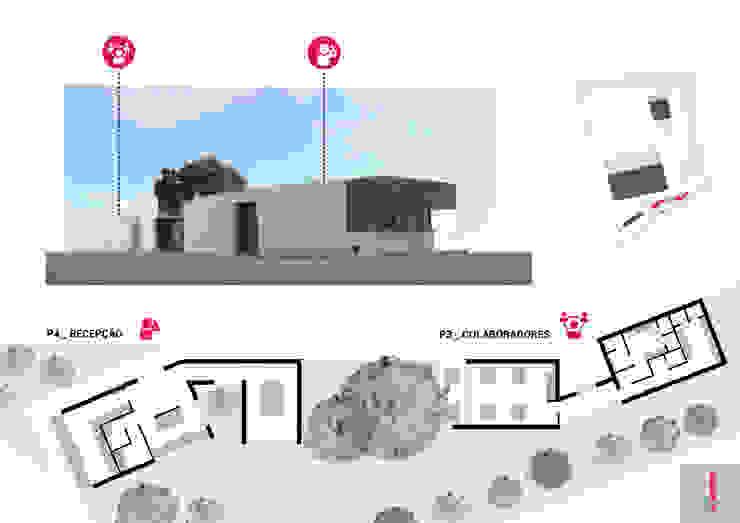 Plantas do pavilhão P3 / Colaboradores e P4 / Recepção por Aurora Fernandes e Helena Alves - Arquitectas Associadas Lda.