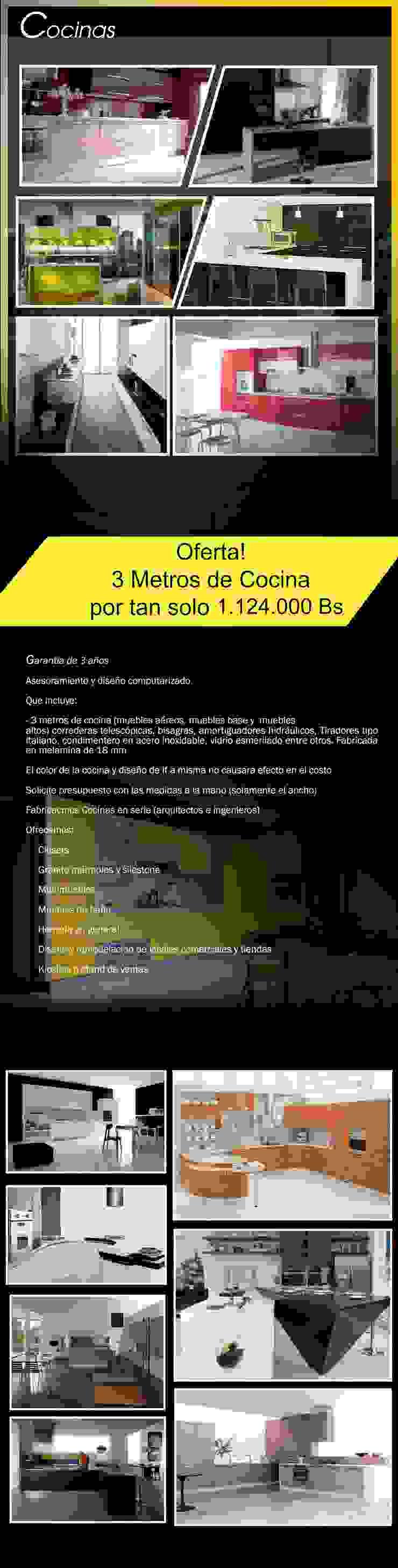 Empotrado de cocina: muebles aereos, base, torres de horno, torres nevera, etc... de Filippo Cucine C.A. Moderno Compuestos de madera y plástico