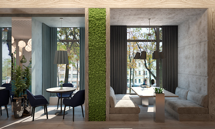 Private cabins for customers and vertical garden Paredes y pisos escandinavos de U-Style design studio Escandinavo