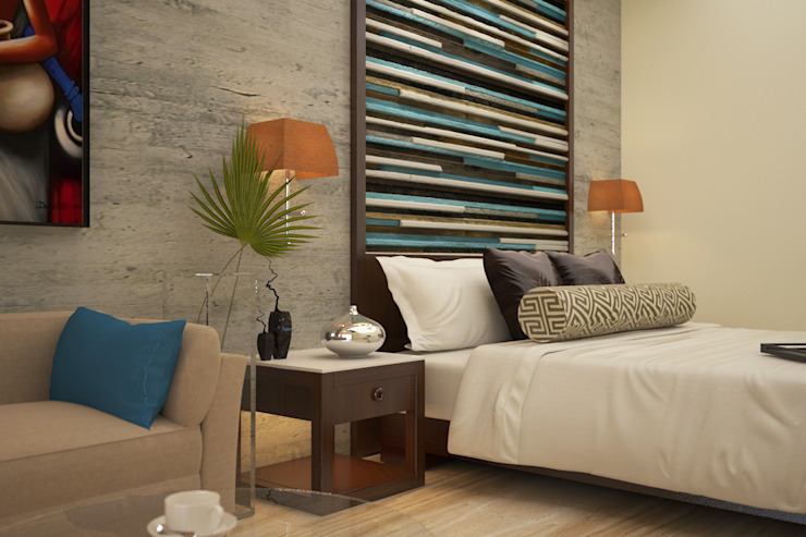 Bed headboard:  Bedroom by Vaibhav Patel & Associates,