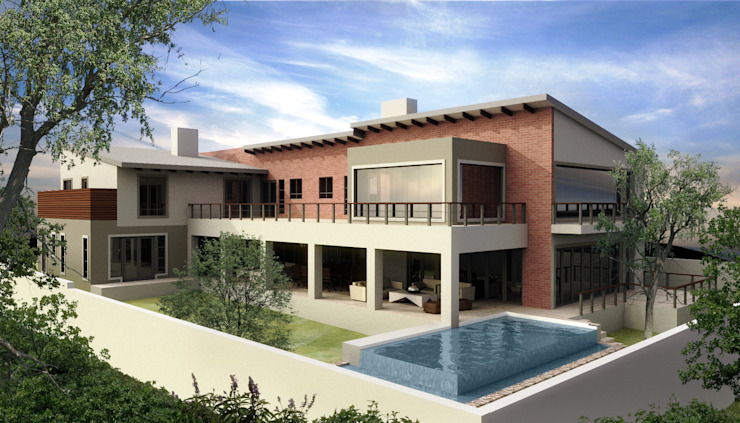 Waterfall Country Estate House Modern houses by Blue Designs Architectural Designers Modern Bricks