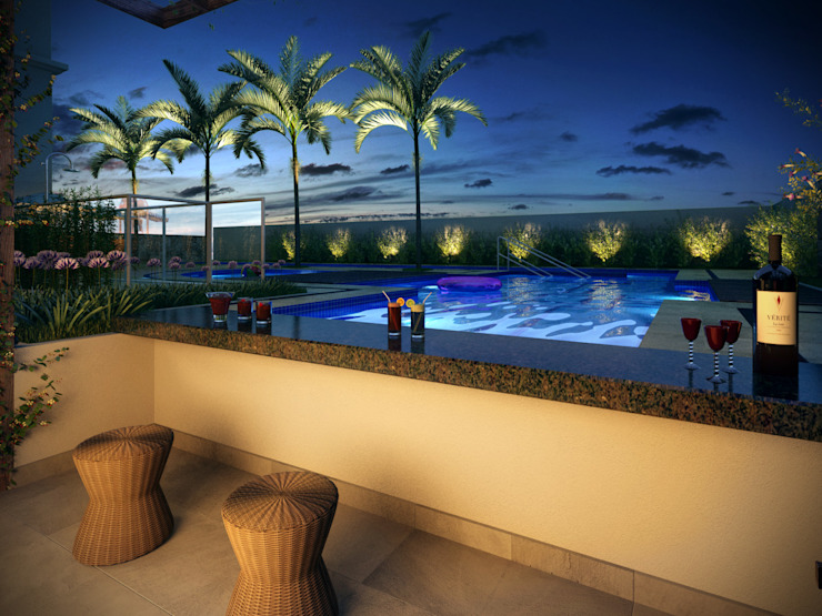 Vista da área da piscina Piscinas modernas por Felipe Mascarenhas Paisagismo Moderno