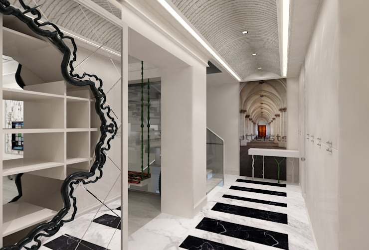 Eclectic style corridor, hallway & stairs by Mimoza Mimarlık Eclectic