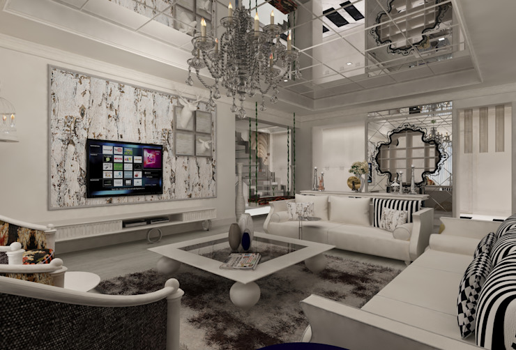 Salas de estar ecléticas por Mimoza Mimarlık Eclético