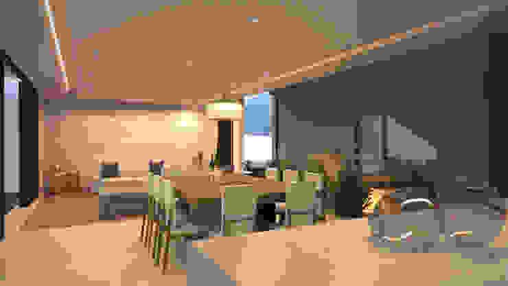 Vista de sala, comedor y cocina Comedores de estilo moderno de homify Moderno