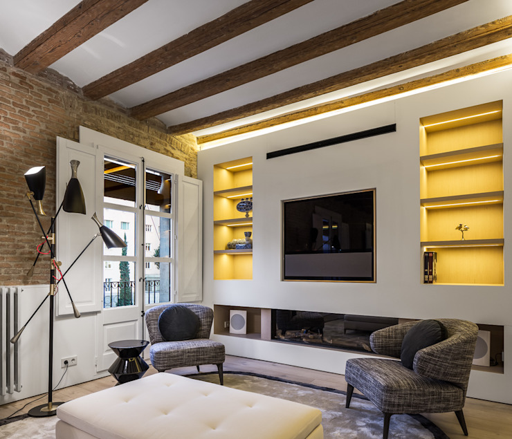 Piso Barrio Gótico | AAGF arquitectura Simon Garcia | arqfoto Salas de estilo moderno