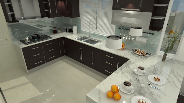 Modern kitchen by homify Modern ٹھوس لکڑی Multicolored