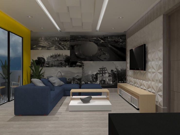 AMPLIACION CASA-HABITACION Salas multimedia eclécticas de AurEa 34 -Arquitectura tu Espacio- Ecléctico