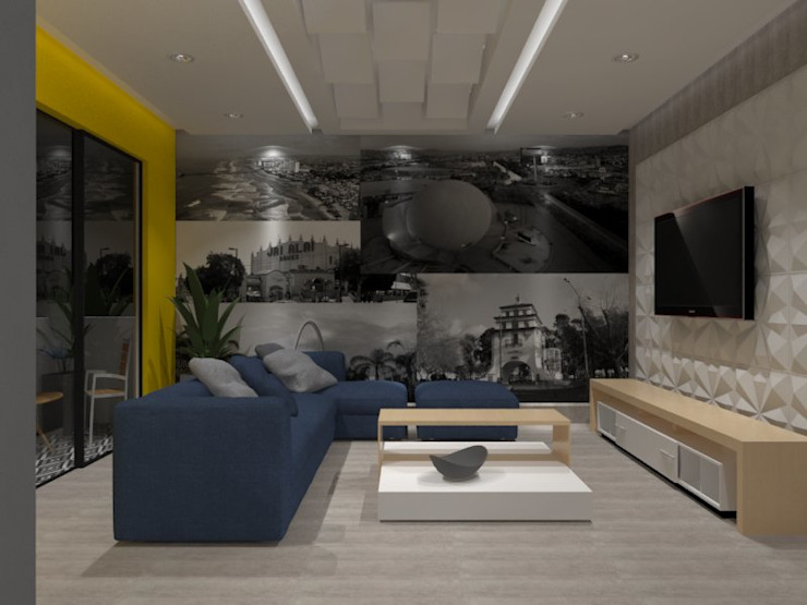 SALA TV Salas multimedia eclécticas de AurEa 34 -Arquitectura tu Espacio- Ecléctico Contrachapado
