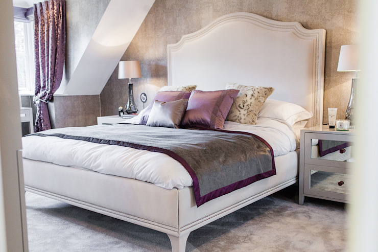 Colourful Transformation Lauren Gilberthorpe Interiors Eclectic style bedroom Purple/Violet