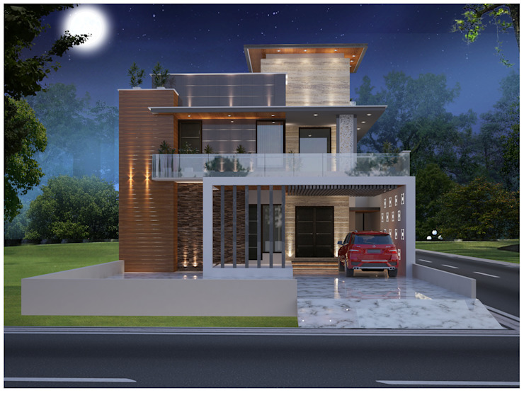 Front Elevation of Residential Project Moon Arc Modern houses Amber/Gold