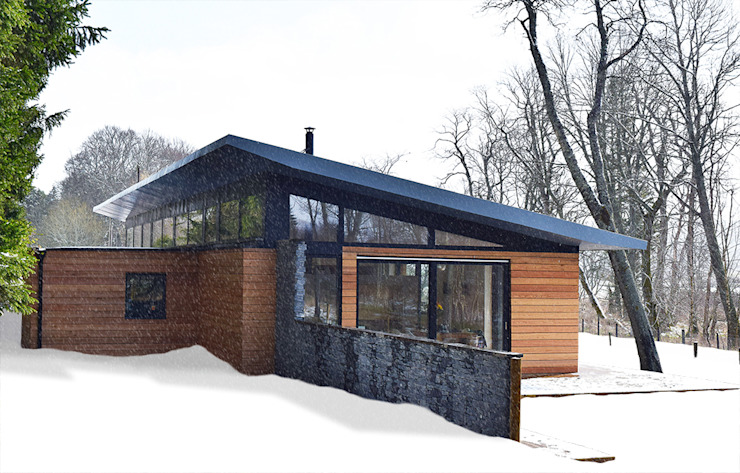 House in the snow Case moderne di Brown + Brown Architects Moderno Pietra
