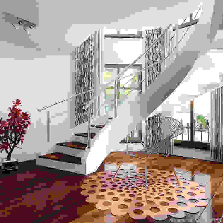 schody Nowoczesny korytarz, przedpokój i schody od A.P. RUD Schody Nowoczesny