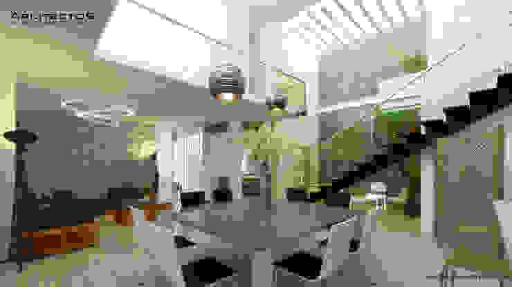 CASA MAGALLANES Pasillos, vestíbulos y escaleras modernos de arquitecto9.com Moderno