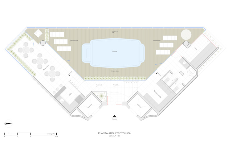 Planta diseño arquitectónico de John Robles Arquitectos Rústico