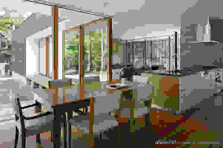 atelier137 ARCHITECTURAL DESIGN OFFICE Modern Yemek Odası Ahşap Ahşap rengi