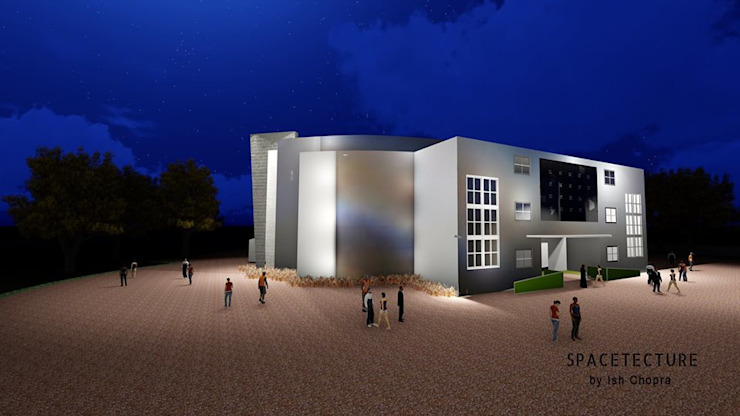 Students hall at Rajasthan College of Management Asian style houses by Spacetecture Asian