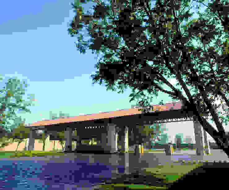 ACCESO PRINCIPAL FRACCIONAMIENTO RESIDENCIAL LAS VILLAS Jardines modernos de MARIO TALAMAS Moderno