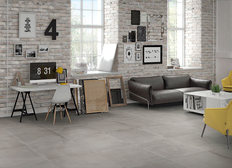 Central Grey Cement Effect Porcelain Tiles de The London Tile Co. Moderno Porcelana