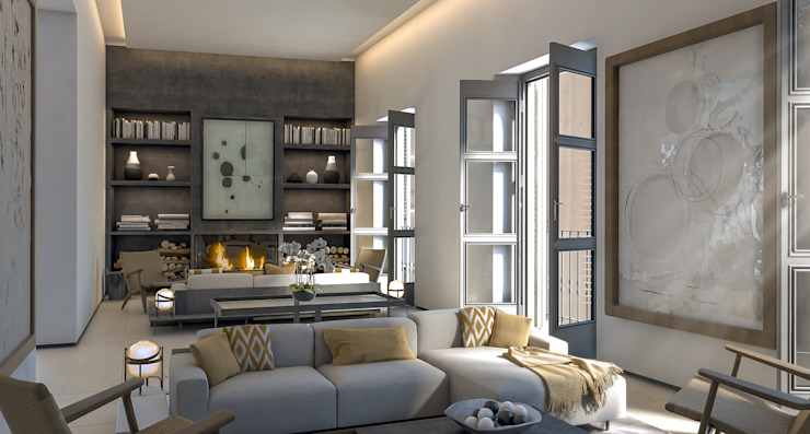 Living room 4D Studio Architects and Interior Designers SoggiornoAccessori & Decorazioni Legno Grigio