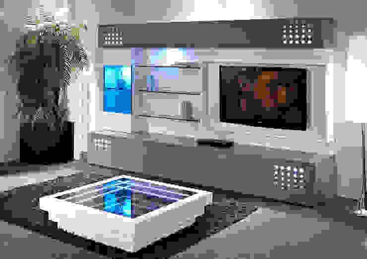Salas de estar modernas Modern living rooms www.intense-mobiliario.com TECNIKAA http://intense-mobiliario.com/pt/salas-de-estar/3036-sala-de-estar-tecnikaa.html por Intense mobiliário e interiores; Moderno